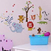 卡通动物墙贴纸儿童房间墙面床头墙上装饰品幼儿园创意墙壁画贴画 PVC可移除胶 特大
