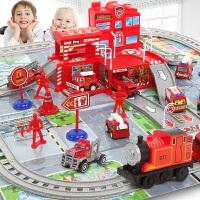 合金工程车消防车维修站轨道男孩小汽车挖掘机套装 儿童停车场玩具