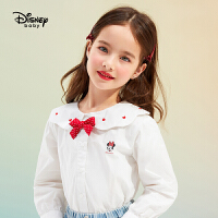 迪士尼女童长袖衬衫2021春装新款洋气儿童宝宝时尚卡通梭织衬衣潮