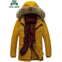 战地吉普男士冬季加厚棉服 中长款可脱卸帽工装多袋棉衣男 时尚休闲纯棉大码棉袄外套