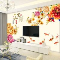 房间电视背景墙贴中国风花卉墙贴客厅卧室墙上装饰防水壁纸自粘