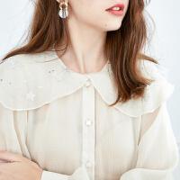 【2件3折】ONE MORE2019秋季新款大摆荷叶边领个性女人味长袖雪纺上衣雪纺衫