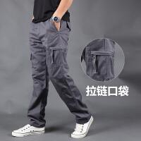 休闲裤男秋冬季大码多口袋工装裤男潮直筒宽松运动长裤子