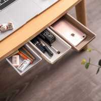 创意桌下抽屉式收纳盒学生隐藏文具盒办公室笔筒家居桌底杂物收纳