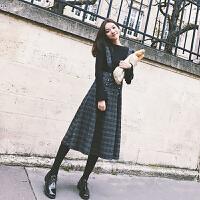 冷系女装网红针织毛衣加吊带裙中长款两件套秋冬小香风时尚套装潮 针织上衣+吊带裙