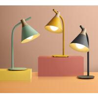 【品牌特惠】北欧简约卧室灯创意现代儿童房床头灯书房护眼学习马卡龙学生台灯 按钮开关