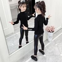 女童毛衣秋装春秋中大童针织衫女孩毛线衣打底衫黑色