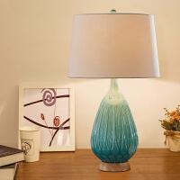 欧式陶瓷小台灯卧室床头灯简约现代温馨暖光美式遥控客厅北欧灯具