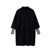 2018秋冬季新款女装小个子直筒内搭打底裙中长款针织连衣裙女加厚 黑色