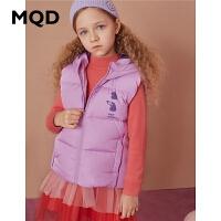 MQD童装女童加厚羽绒连帽马甲2020冬装新款儿童摇粒绒保暖背心潮
