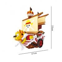 钻石小颗粒微型积木海贼王海盗船阳光号积木儿童拼装玩具 路飞 1750pcs