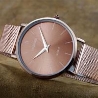 网织带精钢不锈钢手表薄男士手表时装表学生手表非机械