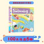 #Busy Swimming系列 英文原版绘本0 3 6岁 繁忙的游泳池 纸板 机关 操作活动书 幼儿启蒙学习 亲子教