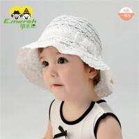 6-12月小女孩宝宝太阳帽婴儿遮阳帽夏季女童蕾丝公主帽