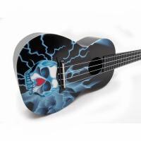 支持货到付款  Vorson  ukulele 23寸 C型 入门 初学  蓝色骷髅 彩印 尤克里里 标准弦长 乌克丽丽 ukulele 小四弦  专业音准 夏威夷小吉他 蓝色 黑色 闪电小骷髅  送(琴套 + 3个拨片 + 教程一本)AUP-24-8