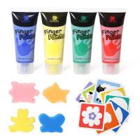 儿童可水洗4色手指画颜料绘画工具画画套装用品宝宝涂鸦礼物 迷你4色手指画套装(含4色海绵 8张卡片 20ml