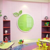 宣传栏展示板家园联系栏公告栏亚克力墙贴幼儿园装饰家长园地情人节礼物 1076圆形公告栏-浅绿+白色 小