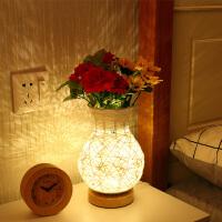 可调光花瓶少女心台灯卧室床头创意浪漫温馨结婚房小夜灯睡眠家用