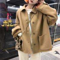 赫本大衣女小个子新款韩版学生慵懒风百搭短款毛呢外套秋冬潮 均码