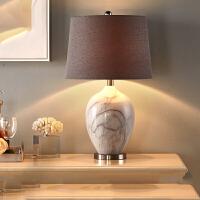 美式大理石台灯卧室床头灯欧式创意陶瓷简约现代客厅温馨结婚婚房