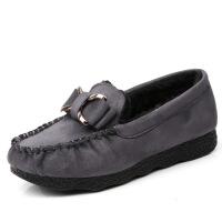 老北京布鞋女鞋秋冬豆豆鞋平底加绒加厚保暖棉鞋孕妇黑色工作鞋女