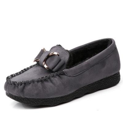 老北京布鞋女鞋秋冬豆豆鞋平底加绒加厚保暖棉鞋孕妇黑色工作鞋女   批量拍下不发货