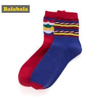 巴拉巴拉儿童袜子棉学生中筒袜保暖春季新款男童棉袜小男孩两双装