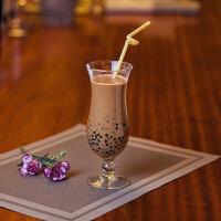 创意潮流个性玻璃奶茶杯家用饮料杯子餐厅果汁杯玻璃杯