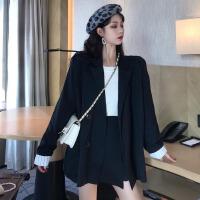 套装女春季新款韩版高腰显瘦A字半身裙百搭条纹卷边长袖西装外套