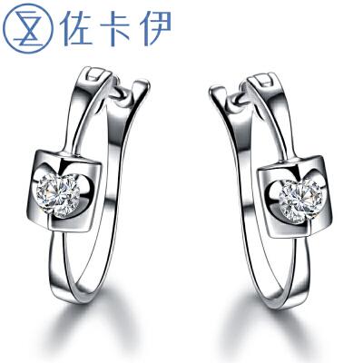 佐卡伊珠宝白18k金钻石耳钉耳环结婚钻石耳环【天籁】送女友礼物顺丰包邮 天使之吻系列 浪漫优雅