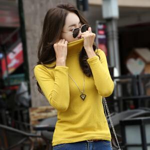 高领毛衣女秋季新款韩版修身显瘦内搭打底针织圆领套头毛线衣