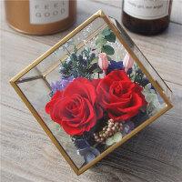 永生花礼盒玻璃花房diy摆件康乃馨保鲜玫瑰干花生日情人节礼物