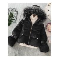 大毛领女冬季新款韩版喇叭袖加厚保暖外套长袖时尚棉衣潮