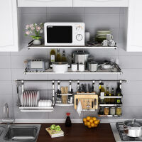 厨房置物架 壁挂微波炉 304不锈钢墙上放电饭锅烤箱收纳层架