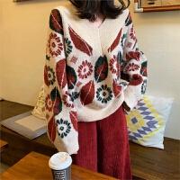 春季韩版女装宽松V领长袖套头毛衣外套复古学生针织衫休闲上衣