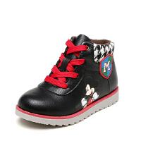 Daphne/达芙妮鞋柜童鞋 冬季卡通男童鞋平跟系带男童短靴-tx