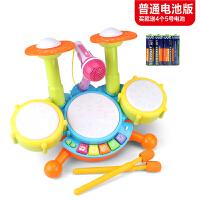 儿童架子鼓电动可充电带话筒玩具乐器男女宝宝1-3-5-6岁玩具 动感爵士鼓+话筒 送5号电池