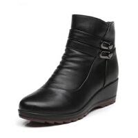 保暖真皮妈妈鞋棉鞋坡跟皮鞋 中年女靴 中老年人短靴秋冬季大码女鞋