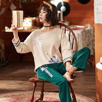 睡衣女秋长袖韩版公主风春秋季薄款全棉秋装学生家居服套装冬
