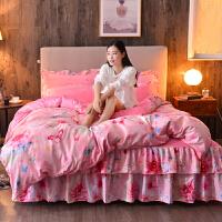 加厚保暖珊瑚绒四件套双面绒法兰绒床裙1.8m法莱绒被套床上冬季