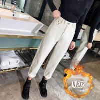 加绒牛仔裤女秋冬季2018新款韩版宽松显瘦高腰直筒老爹萝卜米白色