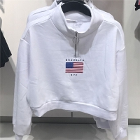 圆环拉链小高领卫衣女装立领上衣外套短款高腰0674336 白色 XS 现货
