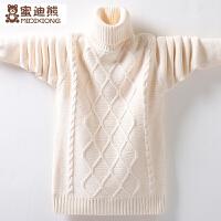 秋冬季中大童套头保暖毛线衣男童高领加绒毛衣加厚针织打底衫