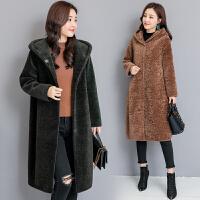 2018冬季新款女士皮草外套大码宽松斗篷型修身中长款羊剪绒大衣潮