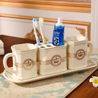 【优选】洗漱套装欧式刷牙杯陶瓷卫浴五件套浴室用品卫生间牙具套件