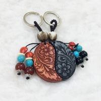 情侣钥匙扣一对刻字定檀木挂件送男女生朋友创意情人节生日礼物