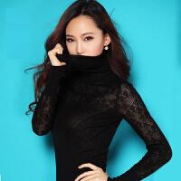 高领紧身毛衣女短款性感修身显瘦打底秋冬长袖薄款镂空针织衫 黑色