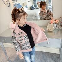女童冬装外套加厚加绒新款中大童韩版儿童秋冬仿皮草洋气夹克 粉红色