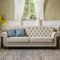 【品牌特惠】美式乡村风格家具棉麻拉扣铆钉三人位布艺沙发组合 3.4m 转角