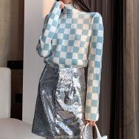 2019春季新款女装欧美风高领清新甜美蓝白格纹长袖套头针织衫女装